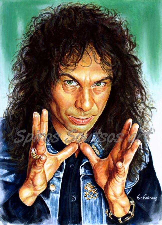 Ronnie James Dio painting portrait, original hand-painted poster art