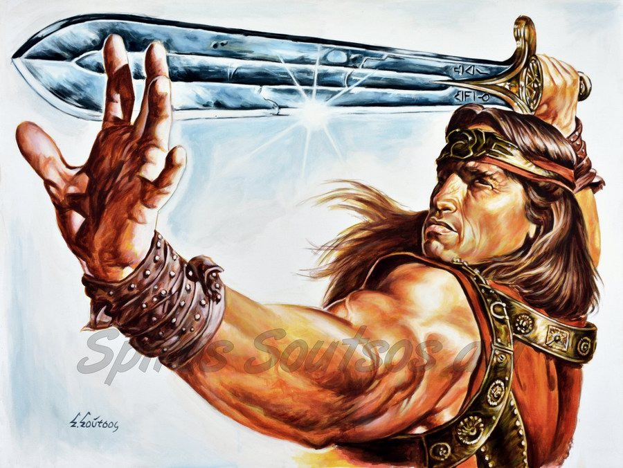 """Conan The Barbarian"" 1982 painting movie poster, Arnold Schwarzenegger portrait"
