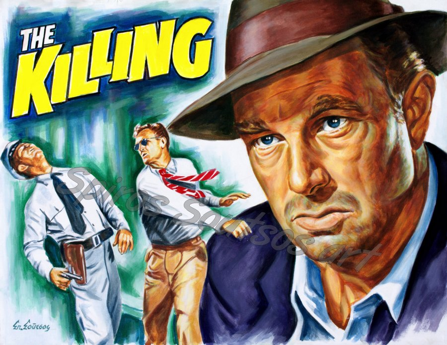 """The Killing"" 1956 movie poster painting, Sterling Hayden original portrait artwork"