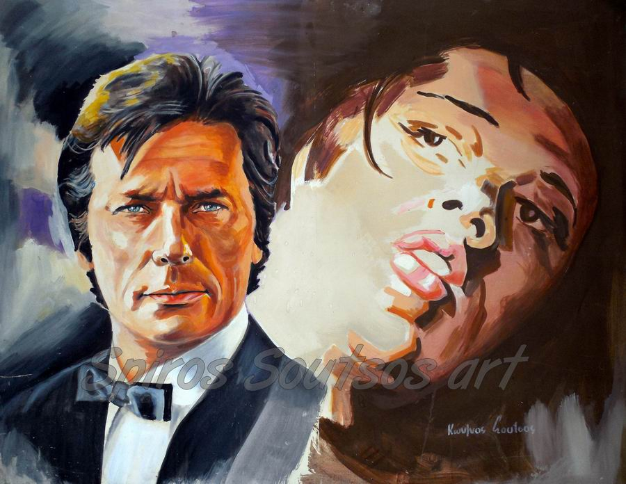 Alain Delon painting portrait, original movie poster artwork