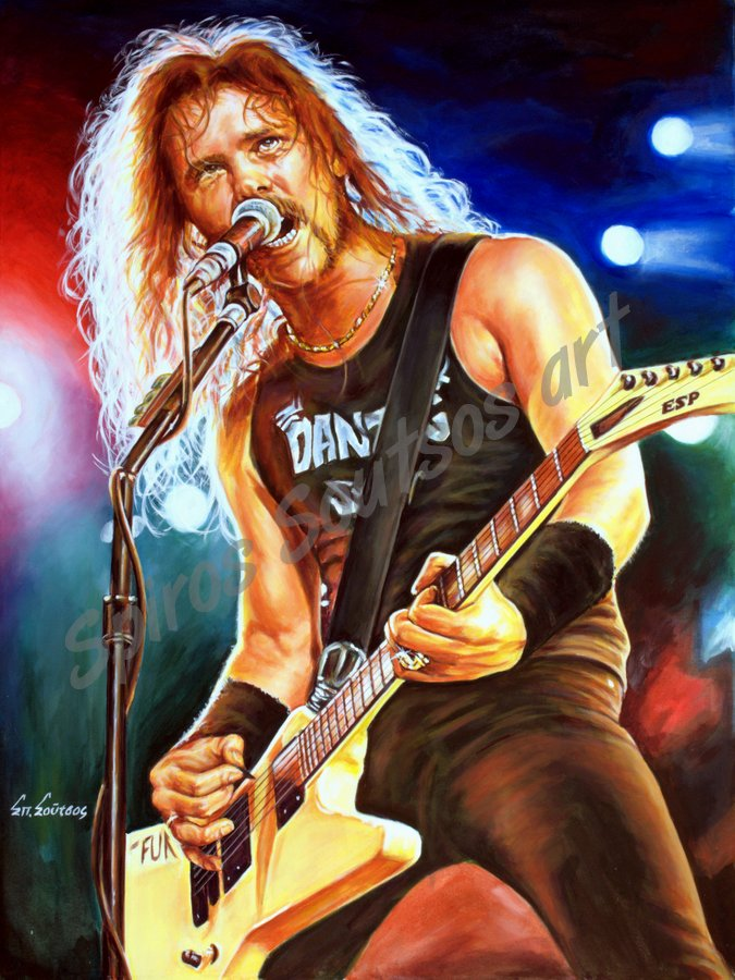 James Hetfield painting portrait, Metallica poster, original painted artwork