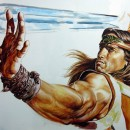 Arnold_Schwarzenegger_original_painting_portrait_Conan_movie_poster_step_4