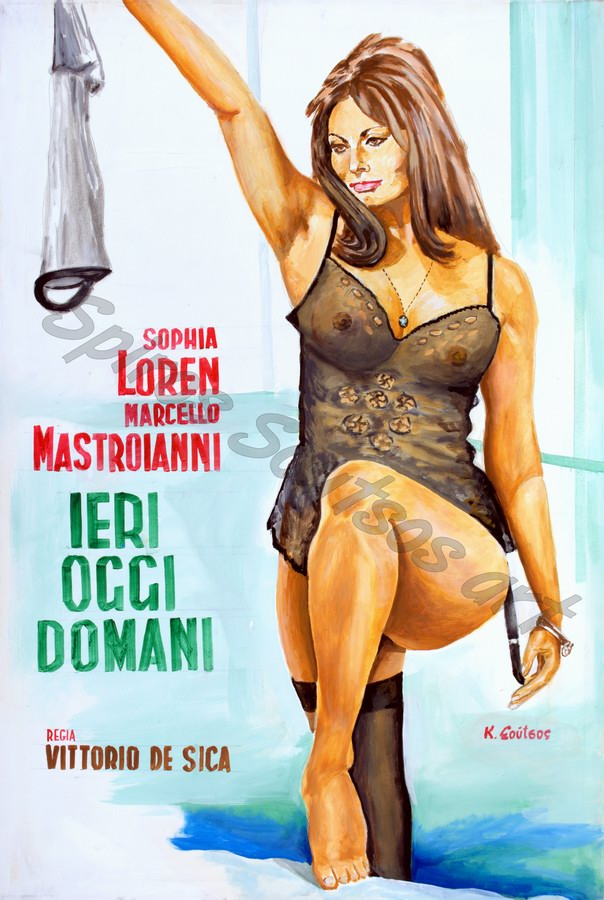 "Sophia Loren ""Ieri, Oggi, Domani"" 1963 movie poster, original painting portrait artwork"