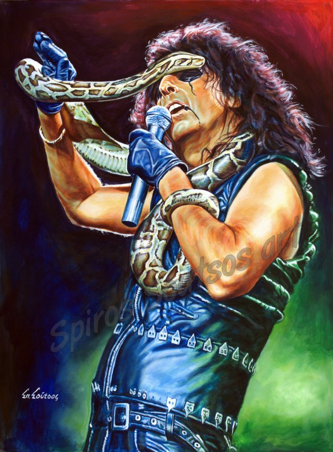 Alice Cooper painting portrait, original hand-painted poster art