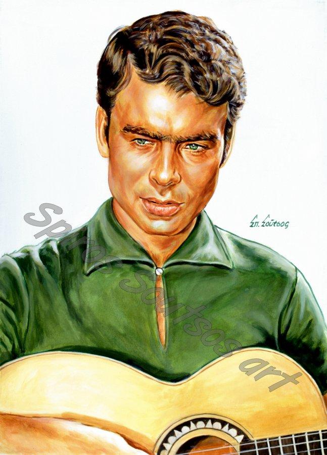 Γιάννης Πουλόπουλος πορτραίτο, αφίσα, αυθεντικός πίνακας ζωγραφικής,πόστερ