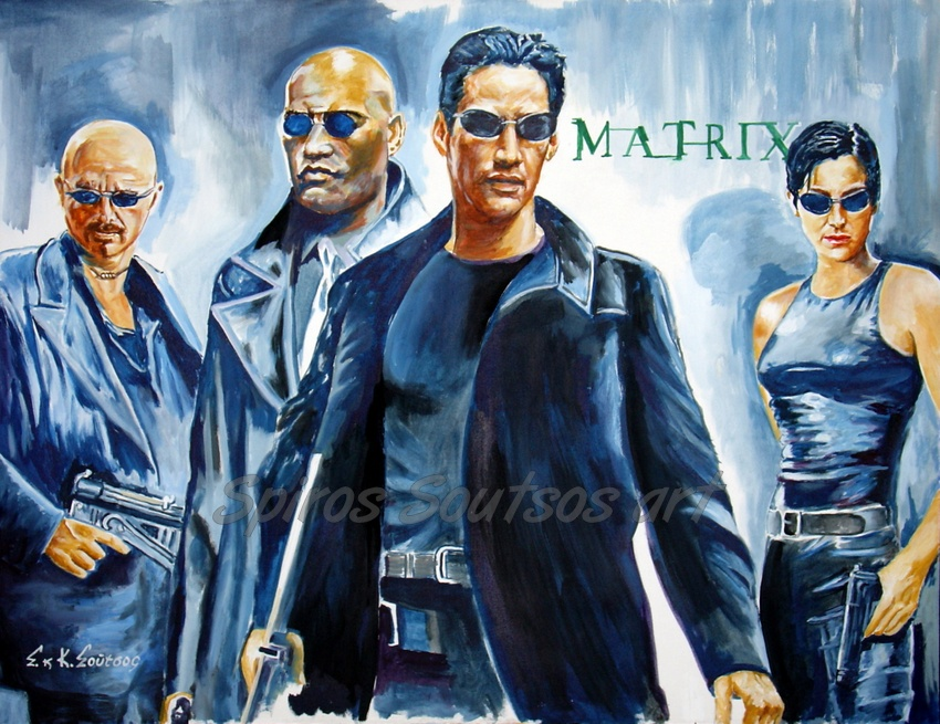 The Matrix (1999) movie poster painting, Keanu Reeves, Laurence Fishburne, Carrie-Anne Moss, Joe Pantoliano
