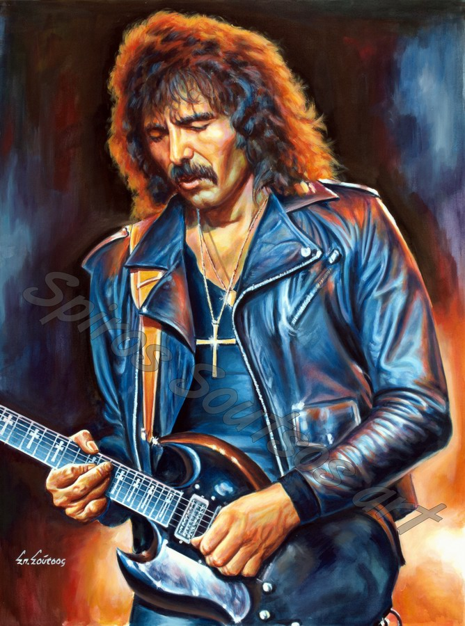 Tony Iommi painting portrait, Black Sabbath poster, original painted artwork