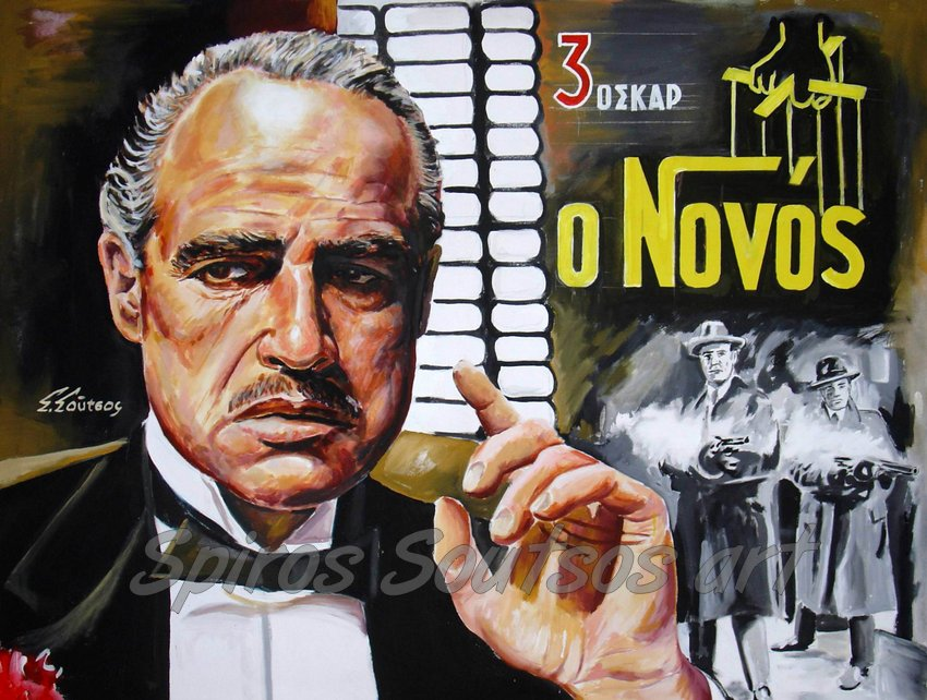 """The Godfather"" 1972, Marlon Brando, original painting movie poster"