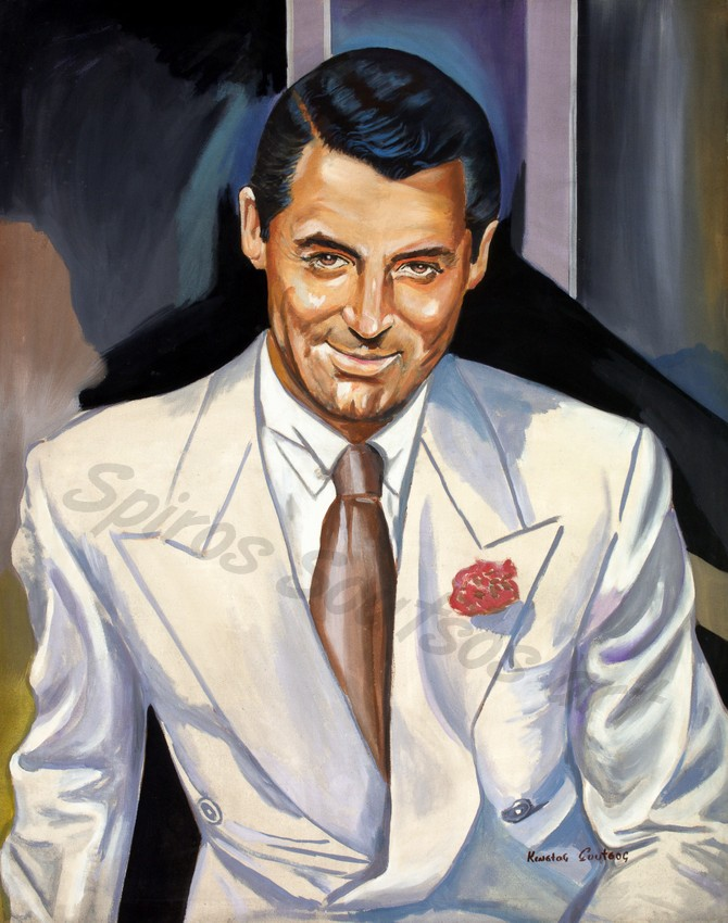 "Cary Grant ""North by Northwest"" 1959, original painting portrait, poster"