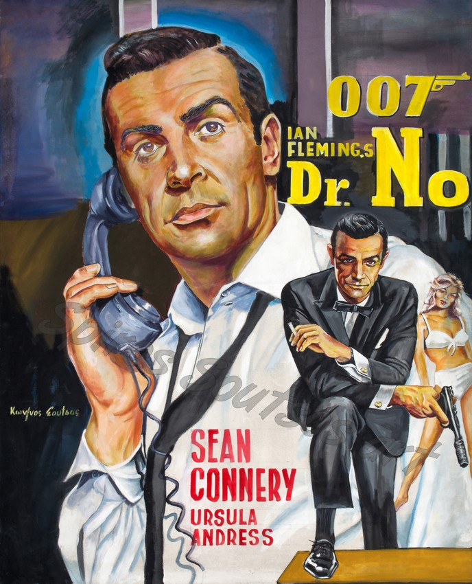 Dr.No (1962), James Bond movie poster painting, Sean Connery portrait