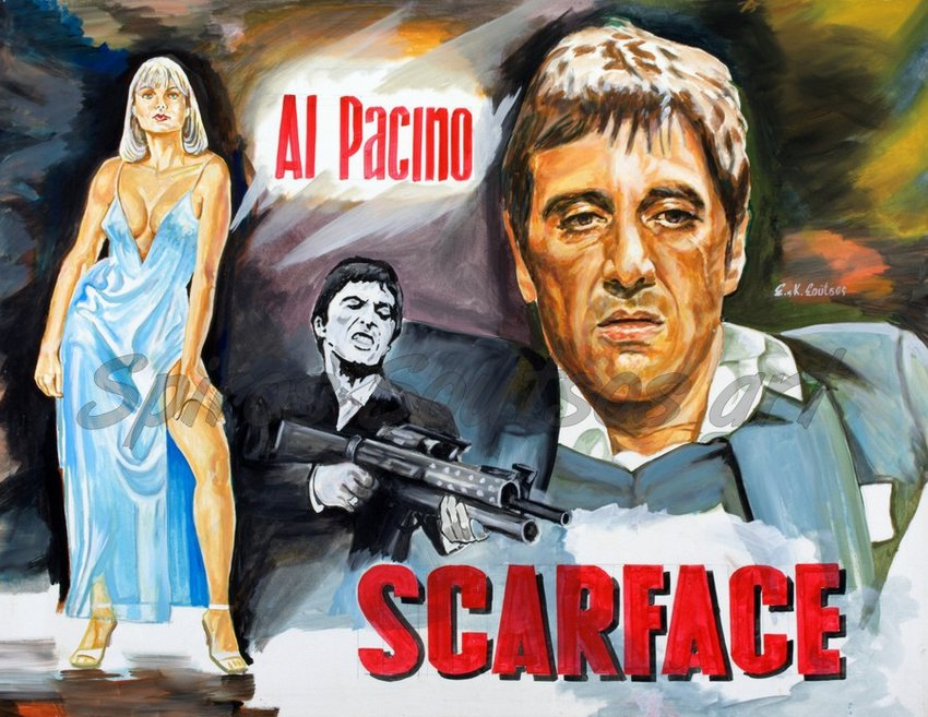 al pacino scarface 1983 original painting movie poster. Black Bedroom Furniture Sets. Home Design Ideas