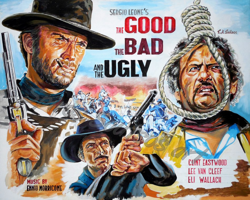 the good the bad amp the ugly movie poster canvas print