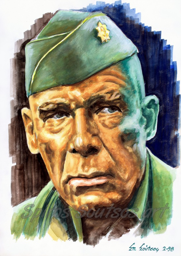 "Lee Marvin ""The Dirty Dozen: The Next Mission"" 1985 original painting portrait, movie poster"