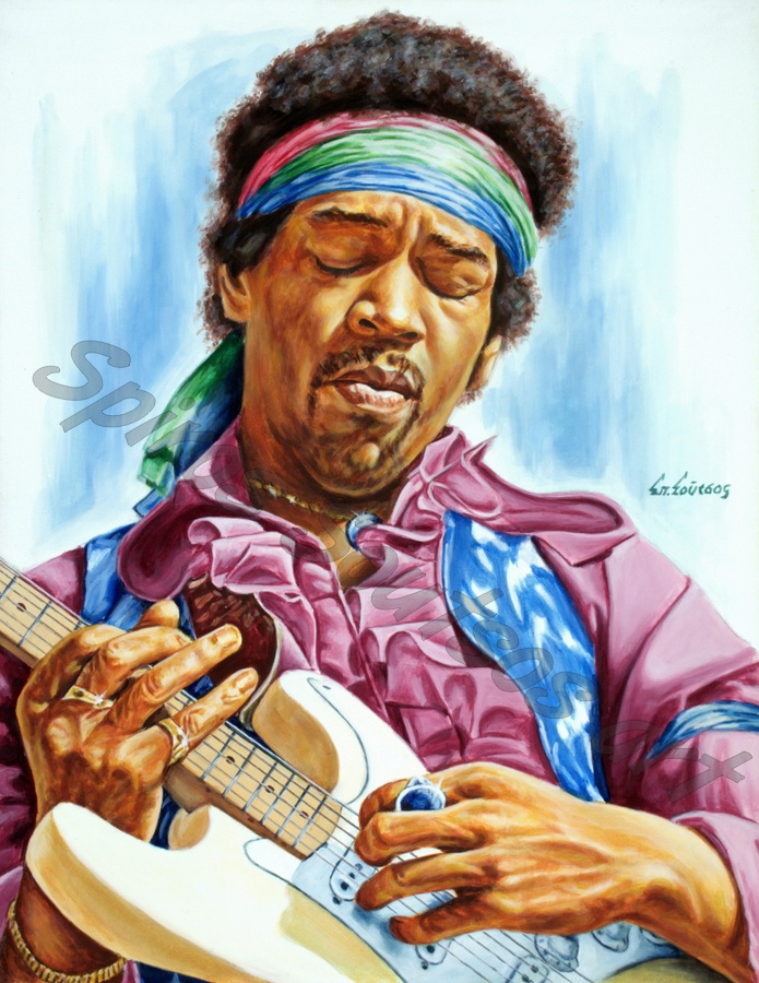 Jimi Hendrix painting portrait, poster, original hand-painted artwork