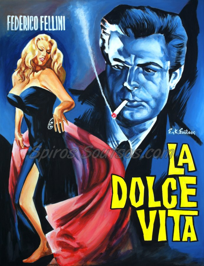 La Dolce Vita 1960 Federico Fellini movie poster, Marcello Mastroianni, Anita Ekberg  original painting artwork