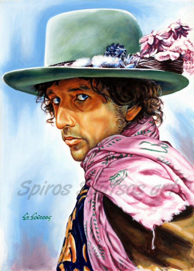 Bob Dylan painting portrait, poster, original hand-painted artwork