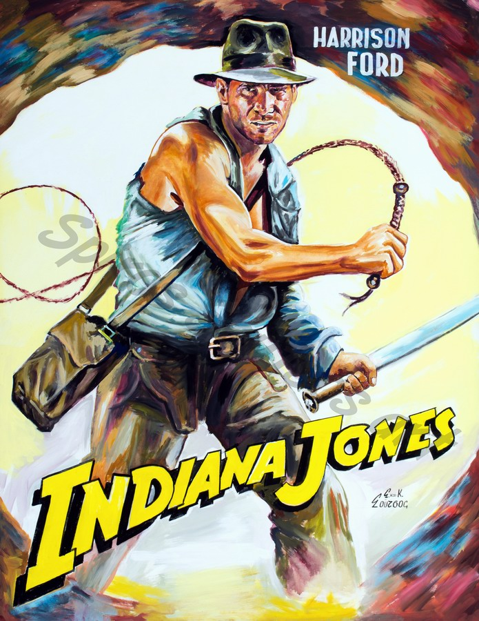 "Harrison Ford ""Indiana Jones & The Temple Of Doom"" 1984 movie poster, original painting portrait"