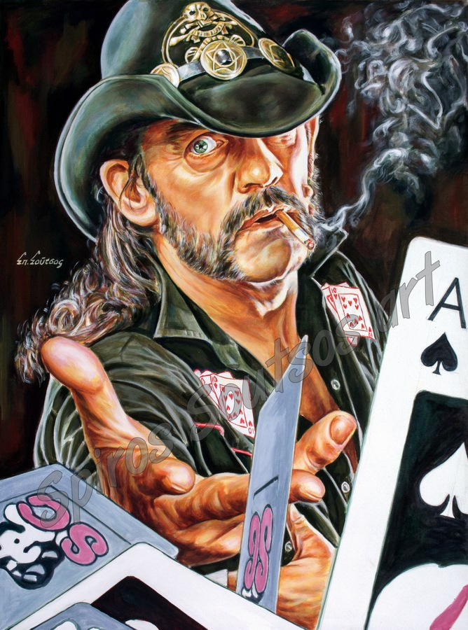 Lemmy Kilmister painting portrait, Motörhead poster, hand-painted original art
