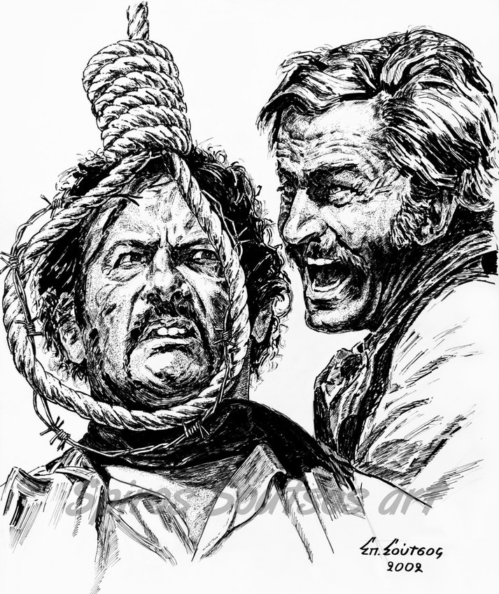 "Eli Wallach, Franco Nero ""Long Live Your Death"" 1971 ink drawing, movie poster, original painting portraits"