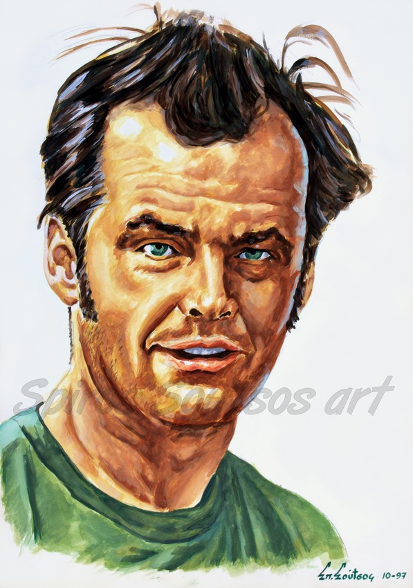 "Jack Nicholson ""One Flew Over The Cuckoo's Nest"" 1975 original painting portrait, movie poster"
