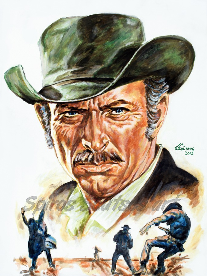 Lee Van Cleef portrait acrylic painting, movie poster