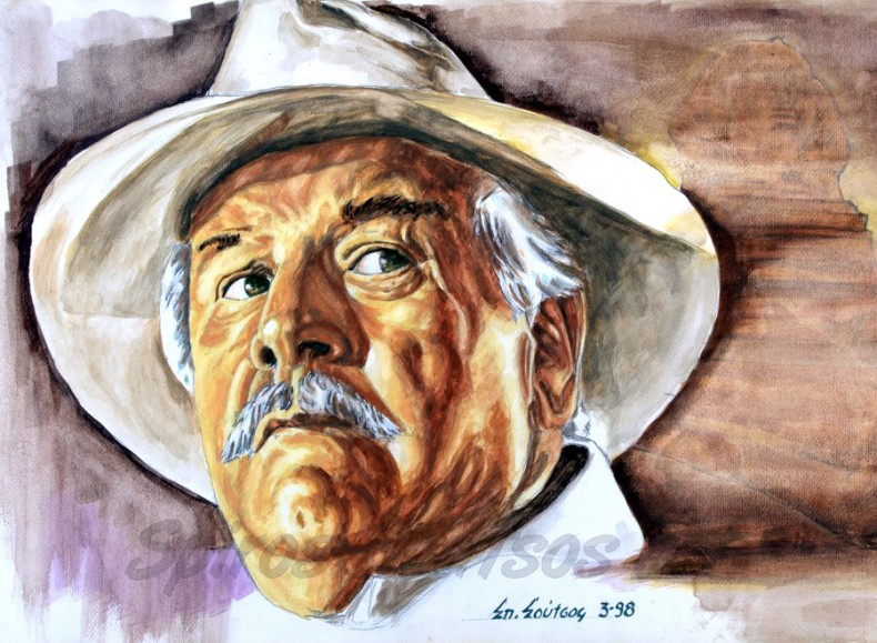 peter_ustinov_hercule_poirot_portrait_painting_death_on_the_nile_poster_agatha_christie_gouache