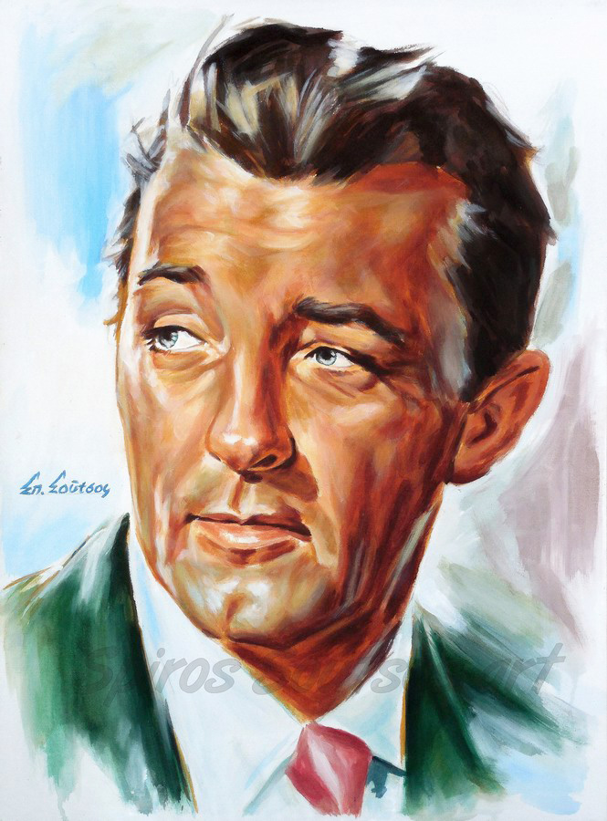"Robert Mitchum ""Out Of The Past"" 1947 painting portrait, movie poster art"
