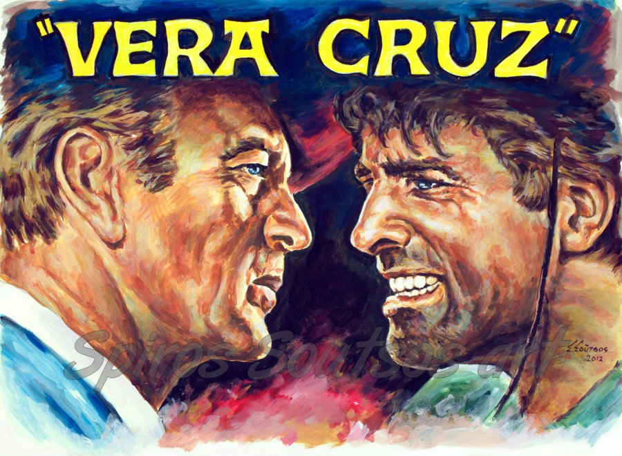 Vera Cruz (1954) movie poster, Gary Cooper, Burt Lancaster painting portraits