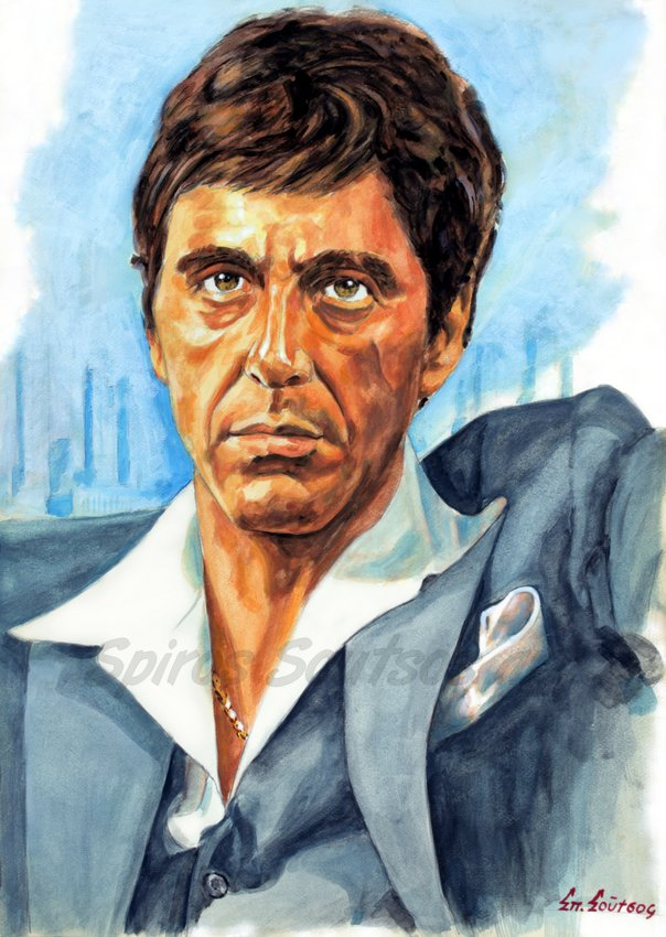 "Scarface (1983) Al Pacino ""Tony Montana"" painting portrait, original movie poster"