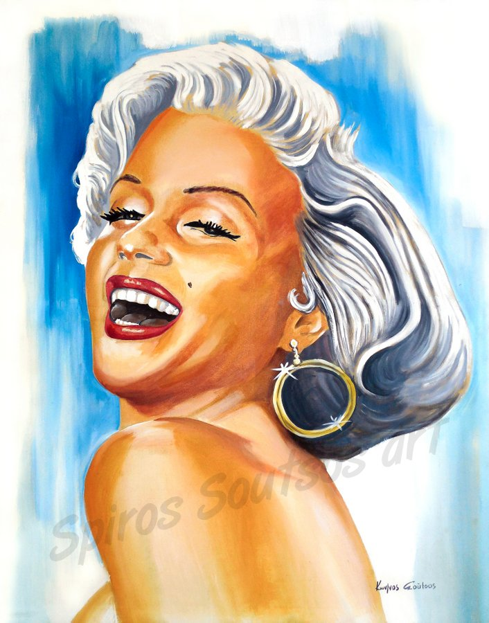 Marilyn Monroe movie poster, original painting portrait