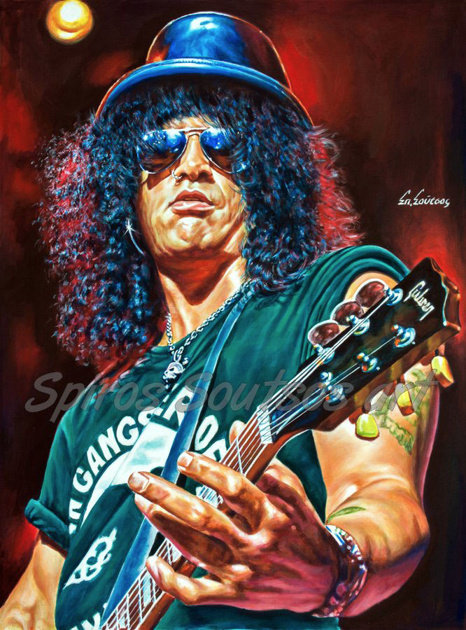 Slash painting portrait, Guns N' Roses poster, original painted art