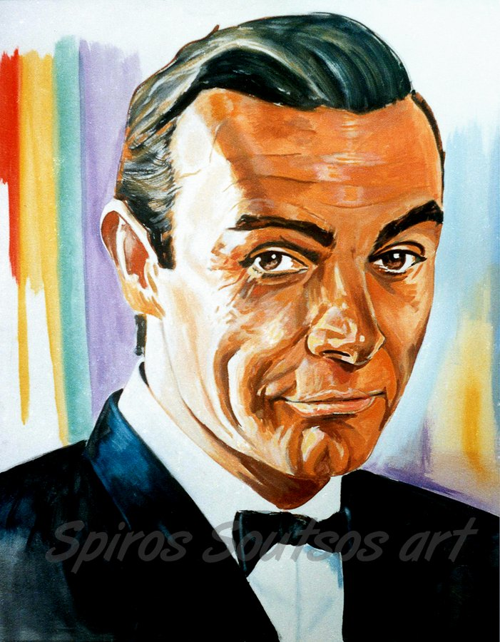 Sean Connery Portrait From Russia With Love James Bond Painting