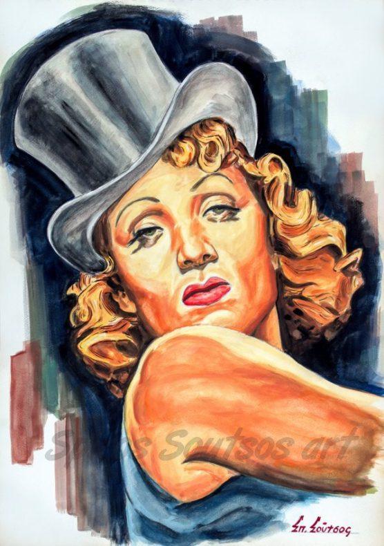 Marlene_Dietrich_portrait_painting_Blaue_Engel_Blue_Angel_movie_poster