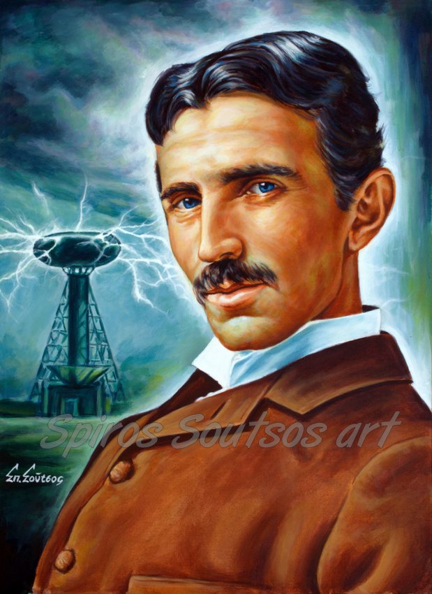 Nikola Tesla Tower, painting portrait