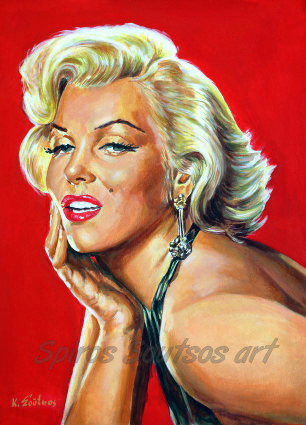 Marilyn Monroe painting portrait, Gentlemen Prefer Blondes (1953) movie poster