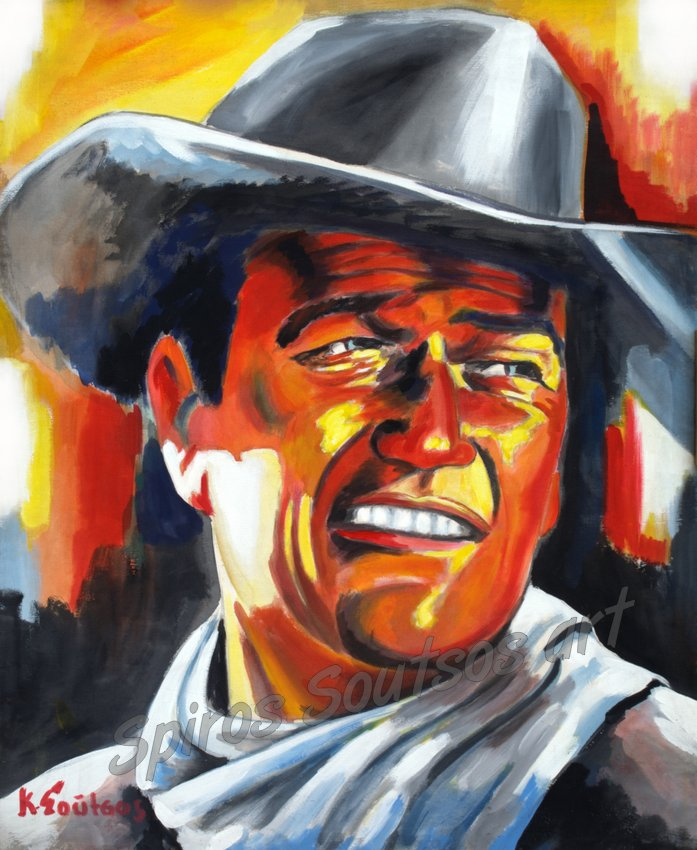 john_wayne_painting_portrait_western_movie_poster