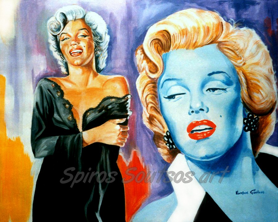 "Marilyn Monroe ""Niagara"" 1953, movie poster, acrylic painting"