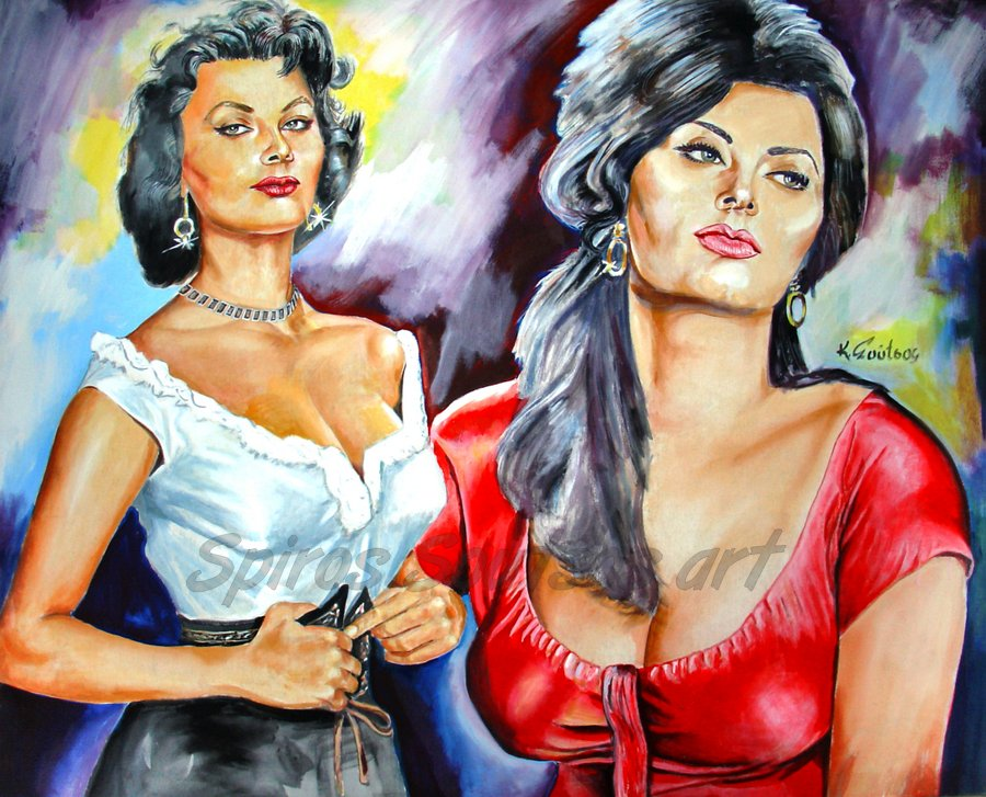 sophia_loren_painting_posrtrait_poster_boccacio_70_italian