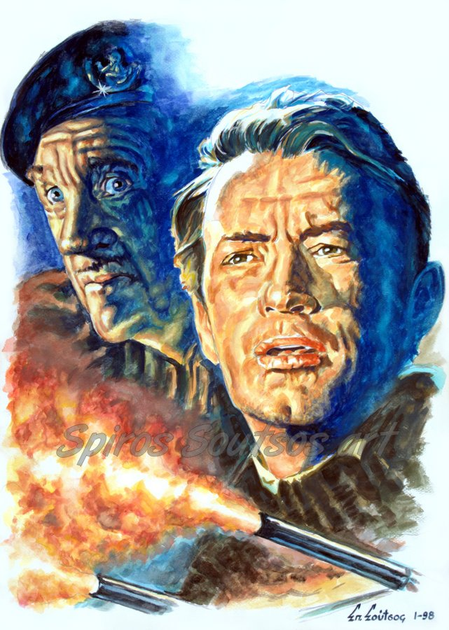 gregory_peck_painting_portrait_guns_of_navarone_movie_poster_david_niven_war_canvas