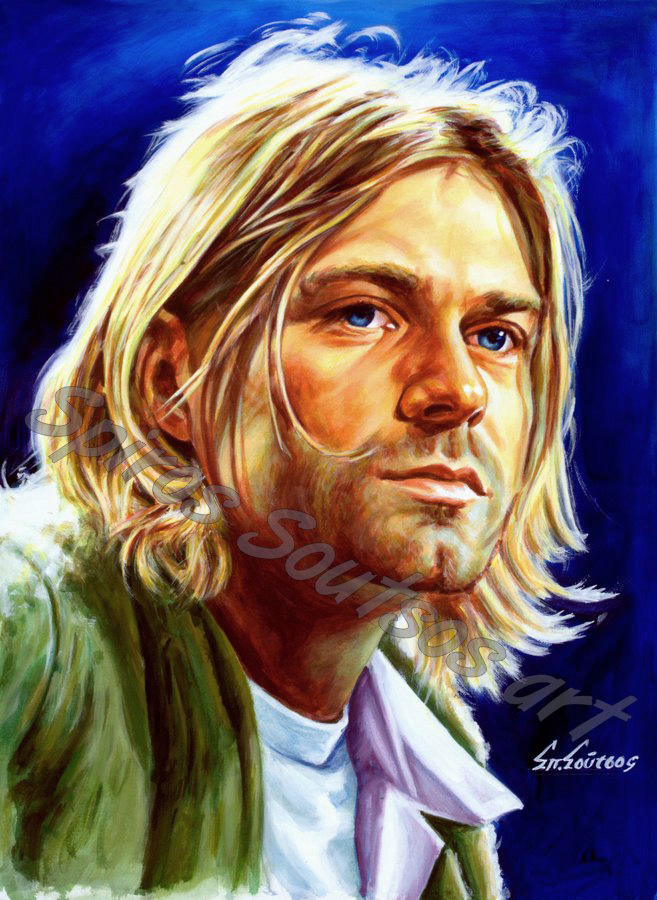 Kurt_cobain_painting_portrait_Nirvana_poster_print_canvas_blue
