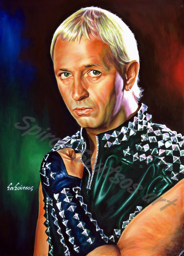 Rob Halford painting portrait, Judas Priest poster, original painted artwork