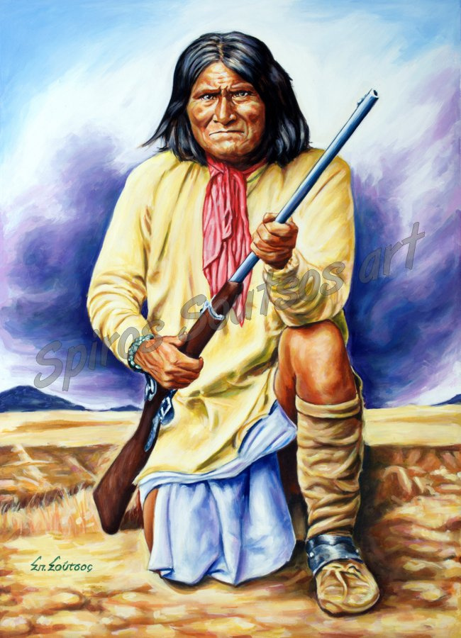 Geronimo of Apache, painting portrait, poster, original painted artwork