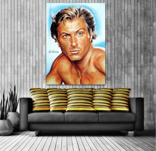 Lex_Barker_tarzan_painting_portrait_poster_print_canvas_sofa