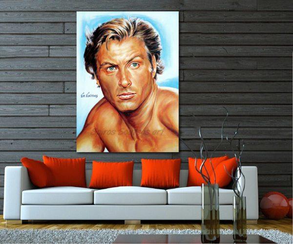 Lex_Barker_tarzan_painting_portrait_poster_print_sofa_print_canvas
