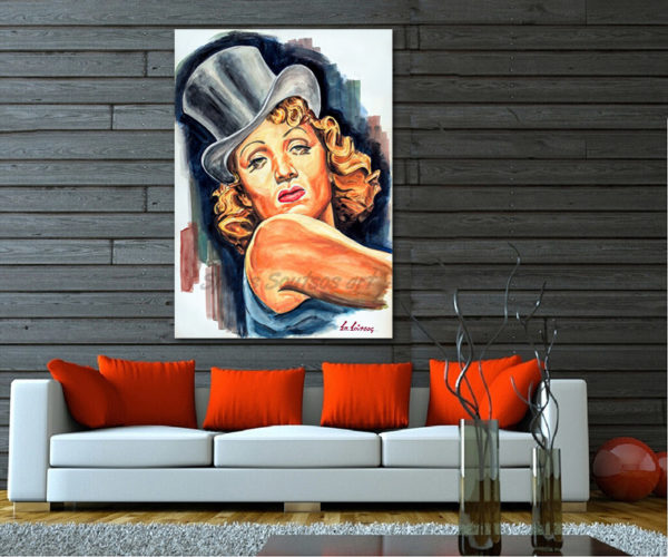 Marlene_Dietrich_portrait_painting_Blaue_Engel_Blue_Angel_movie_poster_decor_print