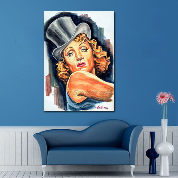 Marlene_Dietrich_portrait_painting_Blaue_Engel_Blue_Angel_movie_poster_sofa_print