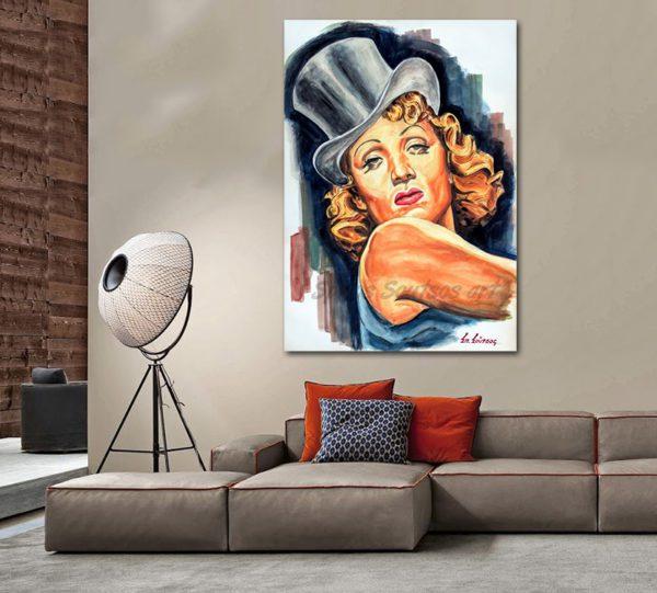 Marlene_Dietrich_portrait_painting_Blaue_Engel_Blue_Angel_movie_poster_sofa_print_wall