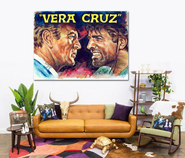 vera_cruz_movie_poster_gary_gooper_burt_lancaster_portraits_painting_canvas