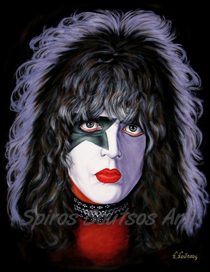 Paul Stanley painting portrait, KISS poster