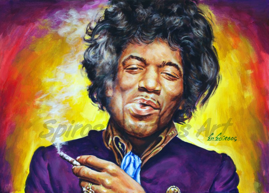 Jimi Hendrix portrait painting, poster, original hand-painted artwork
